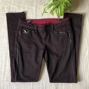 Faux leather detail burgundy skinny jeans -size 28